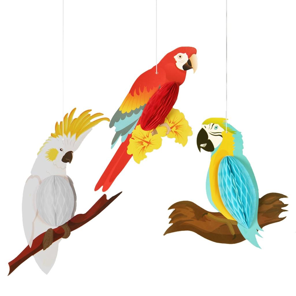 Décor perroquet à suspendre arc-en-ciel 3 pièces   Décoration amusante pour enfants sur balançoire