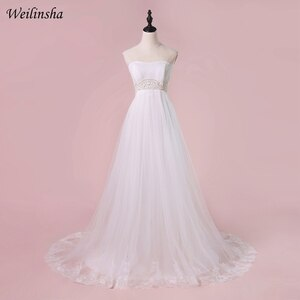 Weilinsha Cheap Pregnant Wedding Dress Vestido De Novia Strapless Pearls Sashes Bride Dresses Wedding Gowns Robe De Mariage