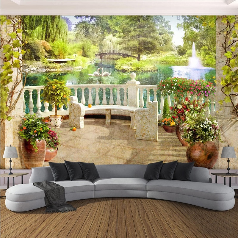 Papel pintado De foto 3D estéreo balcón paisaje De jardín murales sala De estar Comedor Cocina fondos impermeables Papel De Parede 3D