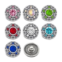 crystal w179 flower 3d 18mm 20mm metal snap button for bracelet necklace interchangeable jewelry women accessorie findings