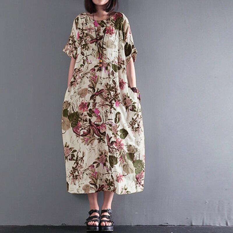2020 ZANZEA Sommer Frauen Floral Print Bohemian O Hals Kurzarm Lose Partei Baumwolle Leinen Midi Vestido Casual Kleid Plus größe