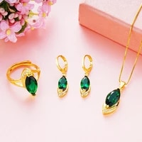 oval cut redgreen jewelry set yellow gold filled womens pendant earrings ring set accessories