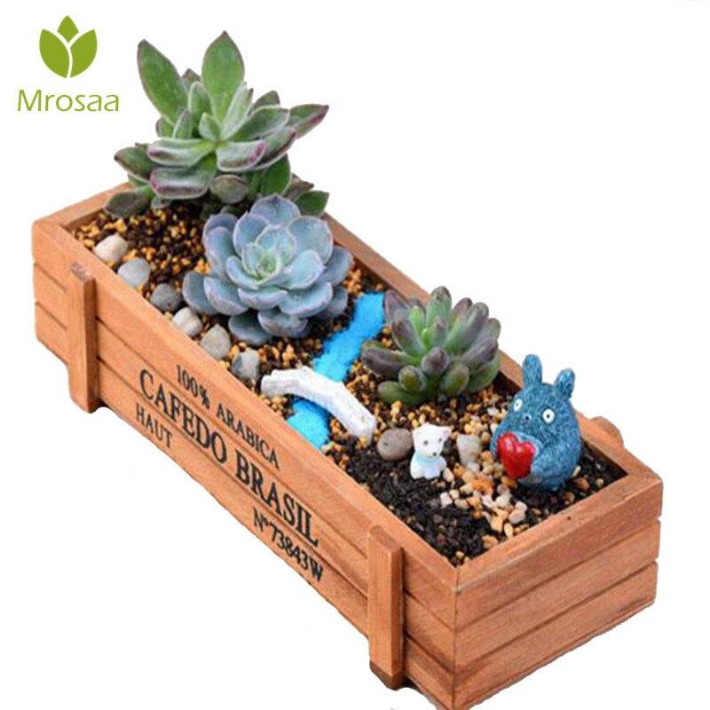 Mrosaa maceta para planta de jardín Dispositivo de jardinería maceta decorativa Vintage suculentas cajas de madera rectangular Mesa maceta