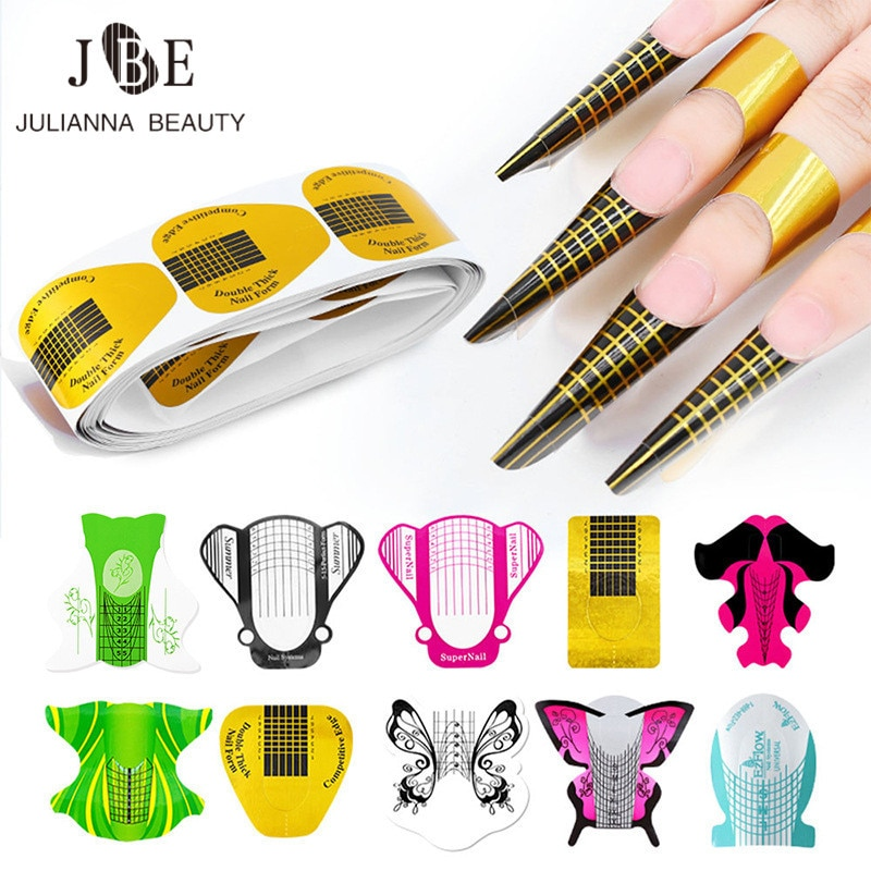 100pcs Professional Nail Art Tools Nail Extension UV Gel Tip Extension Builder Form Tray Bee Butterfly Nail Supply Manicure Tool