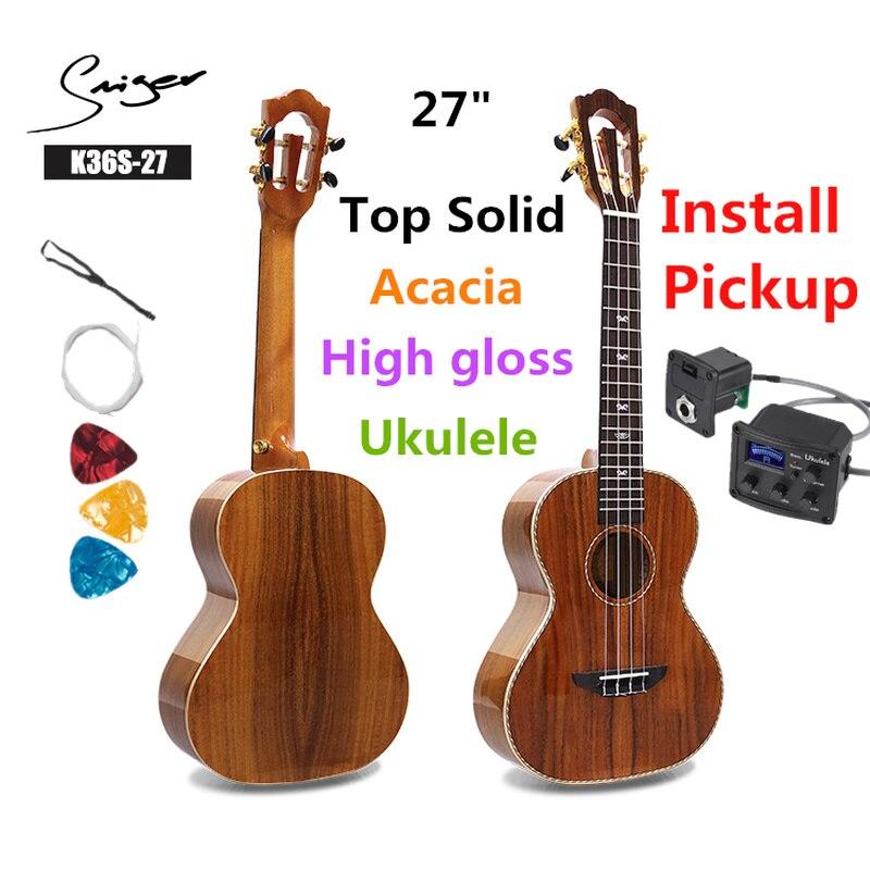 Ukelele 27 pulgadas Acacia sólida Mini Electri Tenor guitarras acústicas 4 cuerdas Ukelele música instalar Pickup guitarra de viaje música