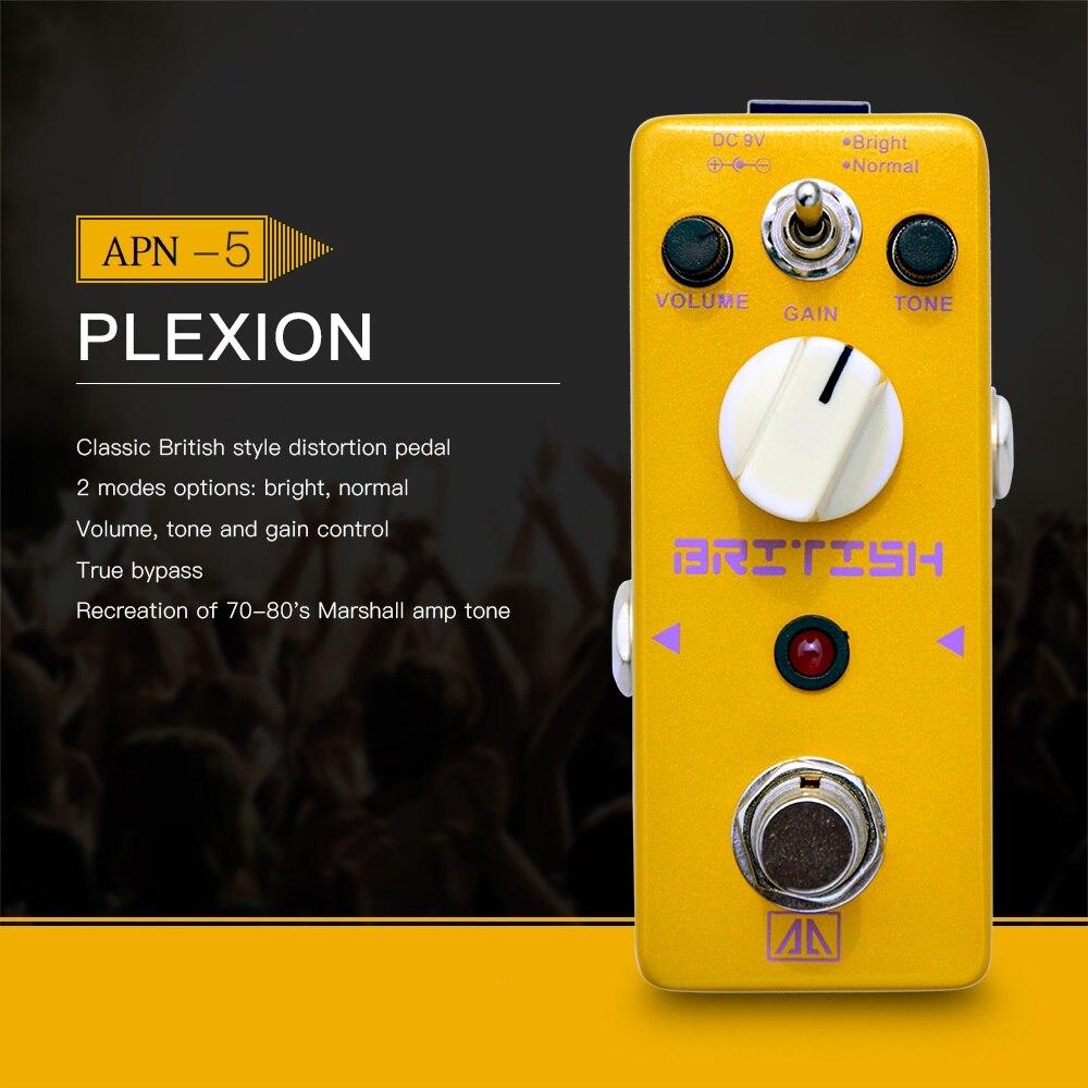 AROMA APN-5 Plexion estilo clásico británico pedal de efecto de distorsión de guitarra 2 modos cuerpo de aleación de aluminio Bypass verdadero