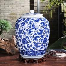 Large 10kgs capacity chinese blue and white porcelain ceramic rice storage jar