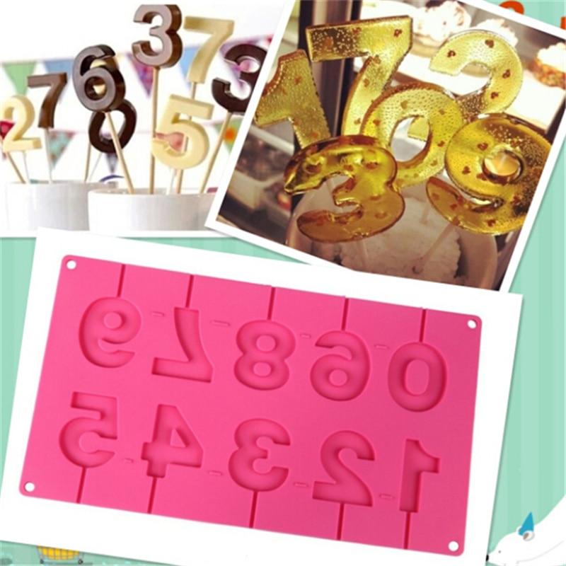 Molde de silicona en forma de números de 0 a 9, hecho a mano en 3D molde de silicona, barras de succión, molde de Chocolate con palitos para decoración de fiestas