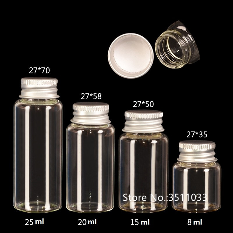 30 Uds 8ml 15ml 20ml 25ml Mini botella de cristal linda con tapa de aluminio vidrio vacío boticario Jar colgantes pequeños VialsFree envío