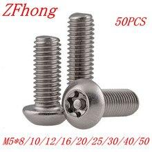 Vis à bouton Torx en acier inoxydable   M5 * 8/10/12/16/20/25/30/40/50 A2, tête Torx, vis de sécurité inviolables 50 pièces/lot
