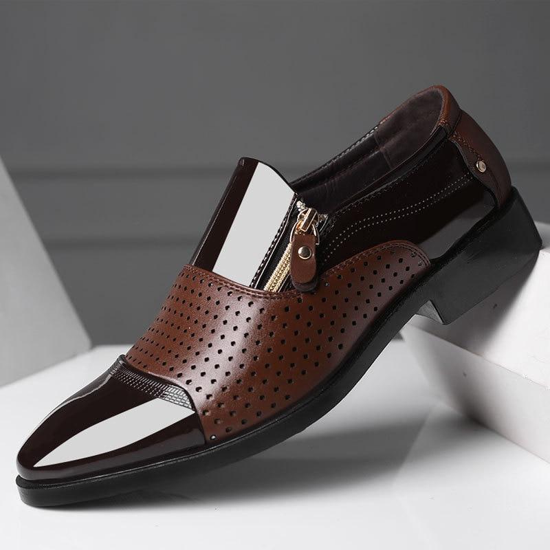 Brand Men Dress Shoes Plus Size 38-48 Men Business Flat Shoes Black Brown Breathable Low Top Men For
