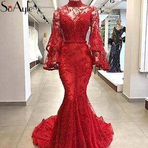 SoAyle 2018 Mermaid High Neck Evening Dresses Red Lace Long Sleeves Beading Prom Dresses Vestidos De Festa Luxury Formal Dresses