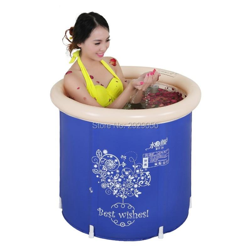 Versión ahorradora de agua de la impresión azul oscuro 65*65 cm, bañera plegable para adultos, bañera inflable, baño de bebé grueso
