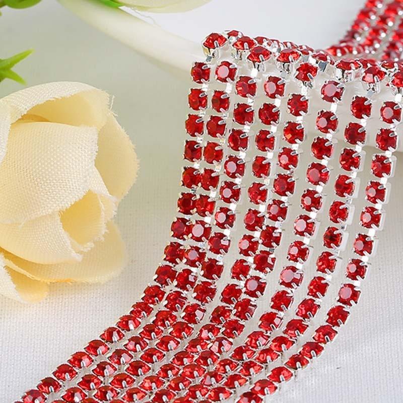 SS6,8,10,12 10 todas las tallas Siam encantos de belleza Diamante de imitación Copa cadena rojo ajuste plateado anillado joya accesorios de ropa