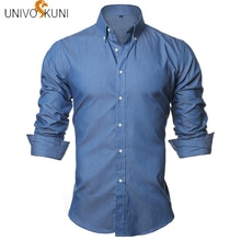UNIVOS KUNI automne nouveau à manches longues Denim chemises hommes chemise coupe ajustée hommes jean chemises marque Camsia masculin ue S-XXL Q5115