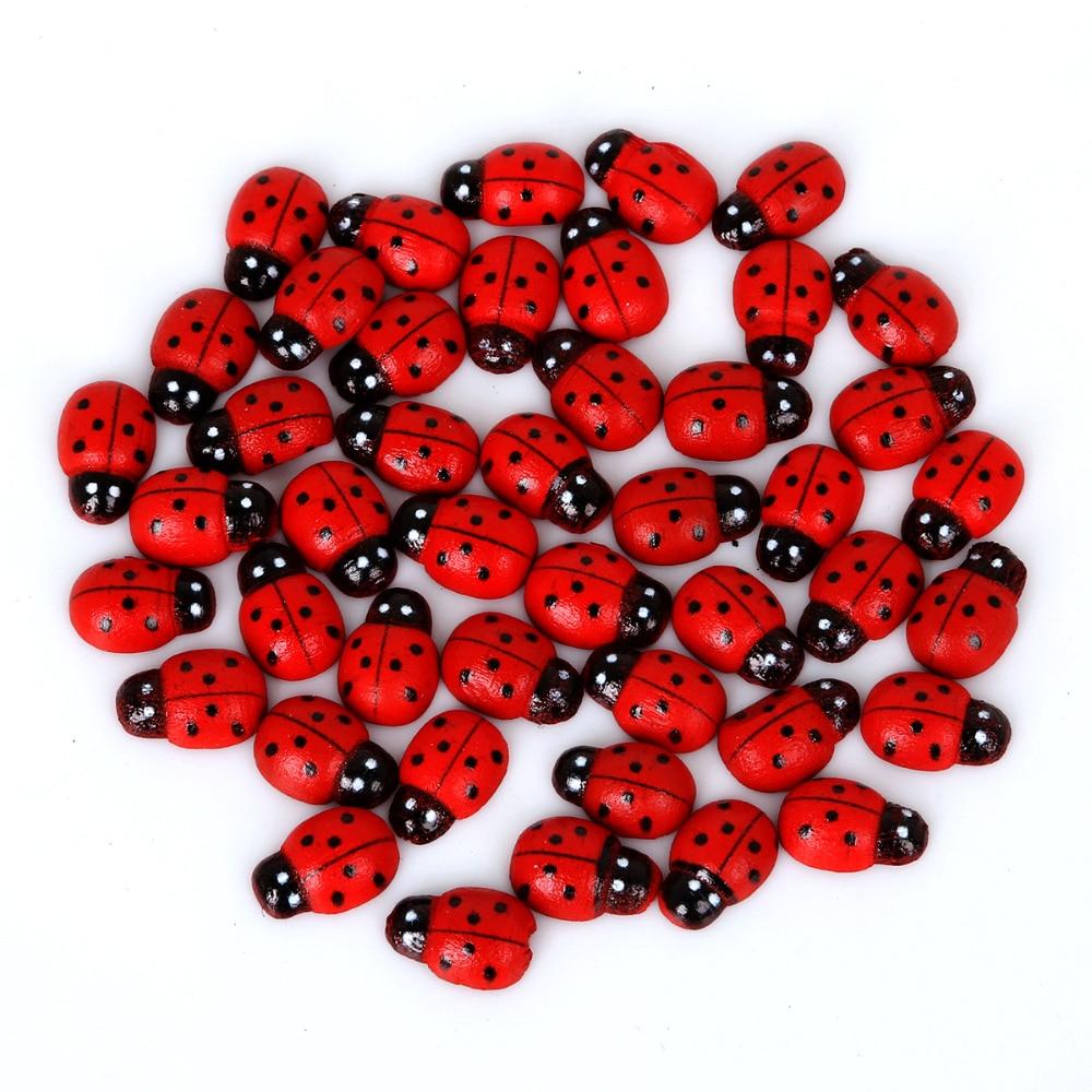Gran oferta 9x13mm Color rojo 50 unids/lote mariquita botones de plástico DIY chico es Apliques/Arte/coser botones para bricolaje Accesorios