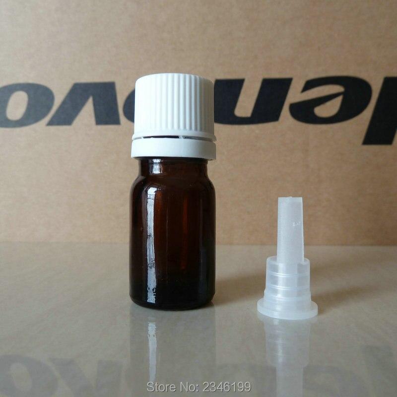 Botella de aceite esencial con tapa de cabeza grande marrón de 5ML 5G, bolsa de muestra de botella, botella de vidrio cosmético, 30 unids/lote