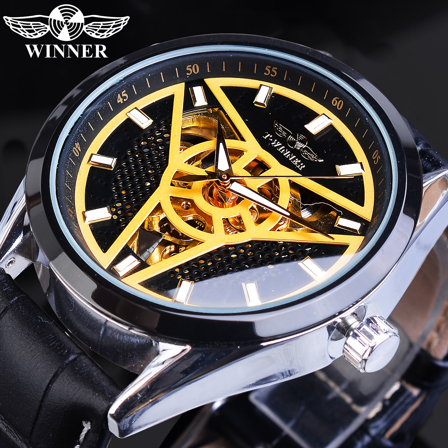 Winner Brand Automatic Men Sport Watch Creative Wheel Design Golden Skeleton Punk Mechanical Leather Wrist Watches Relogio Homme ailang original design watch automatic tourbillon wrist watches men montre homme mechanical leather pilot diver skeleton 2019