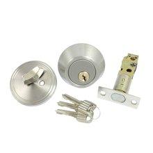 THGS Home Door Locking Security Single Cylinder Deadbolt Lock Silver Tone
