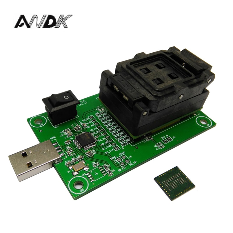مقبس eMCP162 إلى USB ، لاختبار BGA162 BGA186 ، حجم الشريحة 11.5*13 مللي متر ، مبرمج eMCP ، مقبس اختبار صدفي لاستعادة البيانات