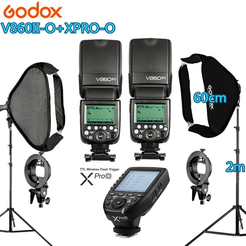 Kit de estudio fotográfico 2X GODOX 60X60cm Softbox plegable de mano tipo S V860II-O Flash Speedlite + xpro-o disparador para cámara Olymplus