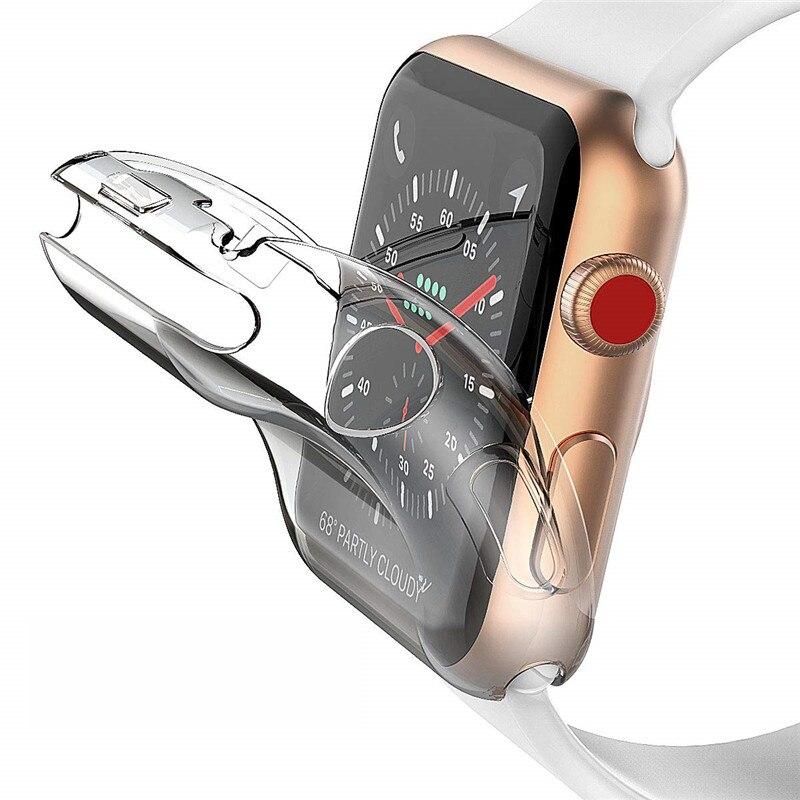 Series 4 44mm 40mm funda para Apple Watch Protector de pantalla iWatch TPU HD funda transparente ultrafina para Apple Watch 38mm 42mm