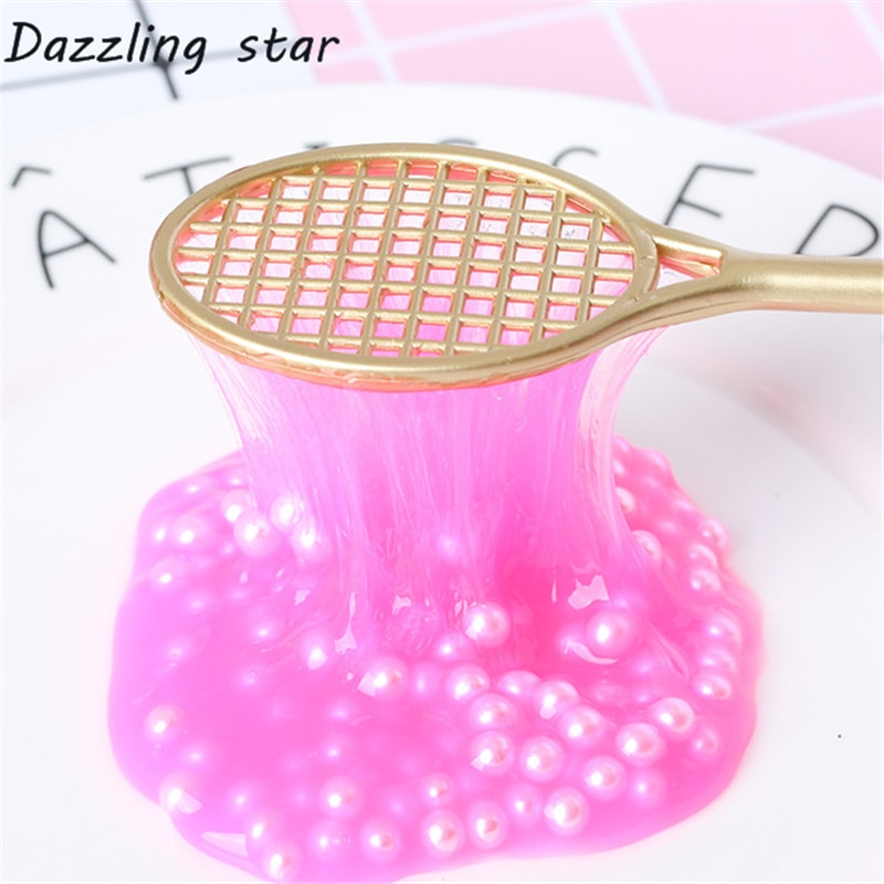 19cm mini PVC Badminton racket for kids DIY fluffy slime form crystal soil kit clear slime Floam putty cream keyboard