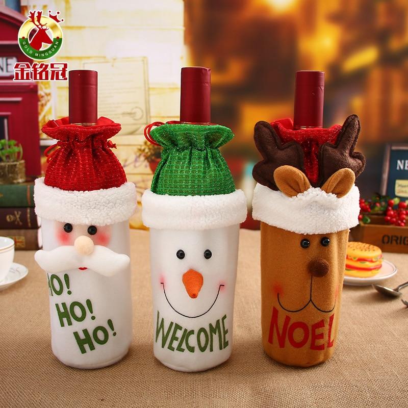 1 Uds. Decoraciones de Navidad, restaurante de Navidad, muñeca de alta gama, juego de vino, bolsa de botella pequeña