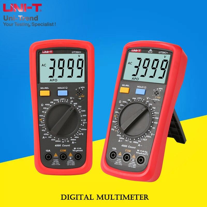 UNI-T UT39A+/UT39C+ Manual range Digital Multimeter; resistance/capacitance/frequency/hFE/NCV/temperature test