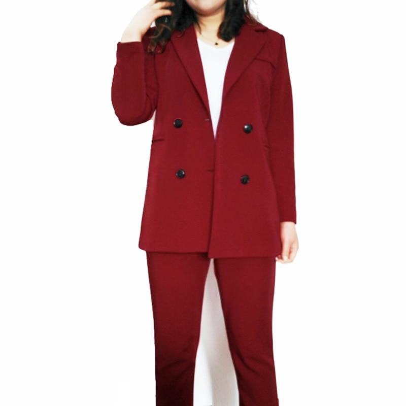 Primavera y otoño nuevo traje de doble botonadura de talla grande para mujeres pantalones de nueve puntos pies traje de banquete casual traje profesional