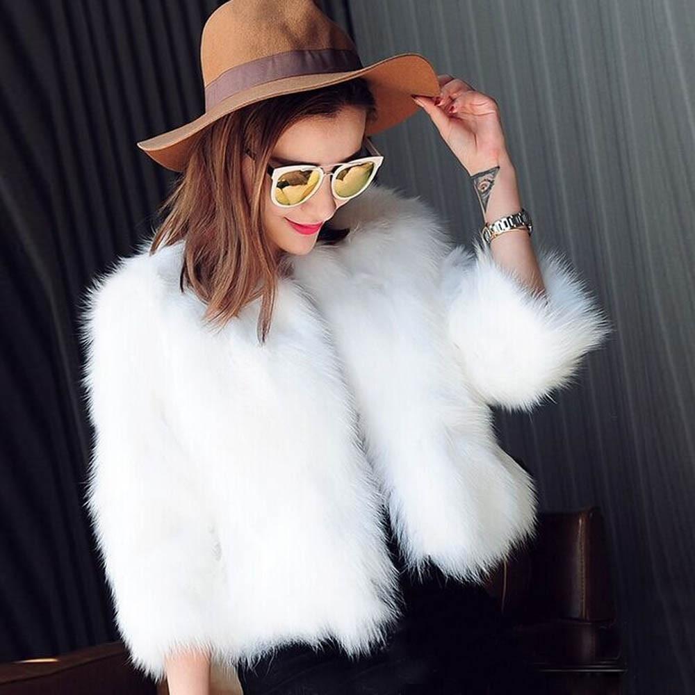De moda de las mujeres de piel abrigo de piel suave mujer chaqueta de invierno chaleco grueso negro cálido blanco abrigo de pieles femme
