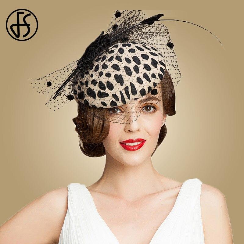 FS Fascinators Black Leopard Pillbox sombrero con velo 100% lana australiana fieltro boda sombreros mujeres Vintage Bow Cocktail Fedoras