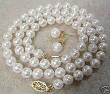 Ensembles de bijoux 8mm blanc Akoya coquille de mer collier de perles boucles doreilles AAA + perles de mode bijoux faisant de la pierre naturelle prix de gros