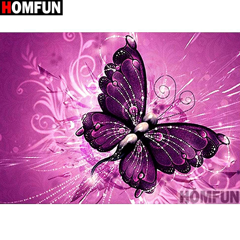 "HOMFUN DIY pintura de diamante punto de cruz bordado de diamantes ""mariposa Púrpura"" completo Rhinestone 5D decoración del hogar con diamantes A13576"
