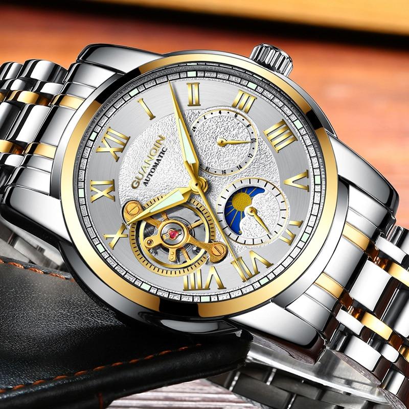 Reloj masculino GUANQIN, reloj de marca de lujo para hombre, Tourbillon de negocios, relojes de acero inoxidable, Reloj de pulsera mecánico automático