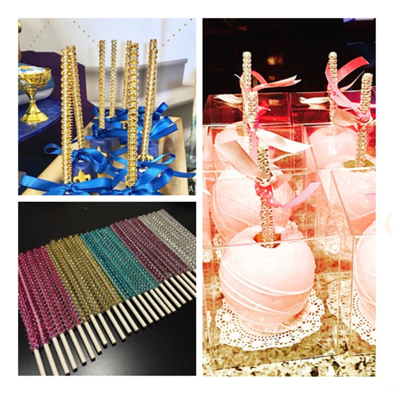 ¡Novedad! 10 Uds. De palos de caramelo y manzana, palos para brocheta ostentosos, dulces, suministros para Buffet de postres, palos de Buffet, diamantes de imitación ostentosos