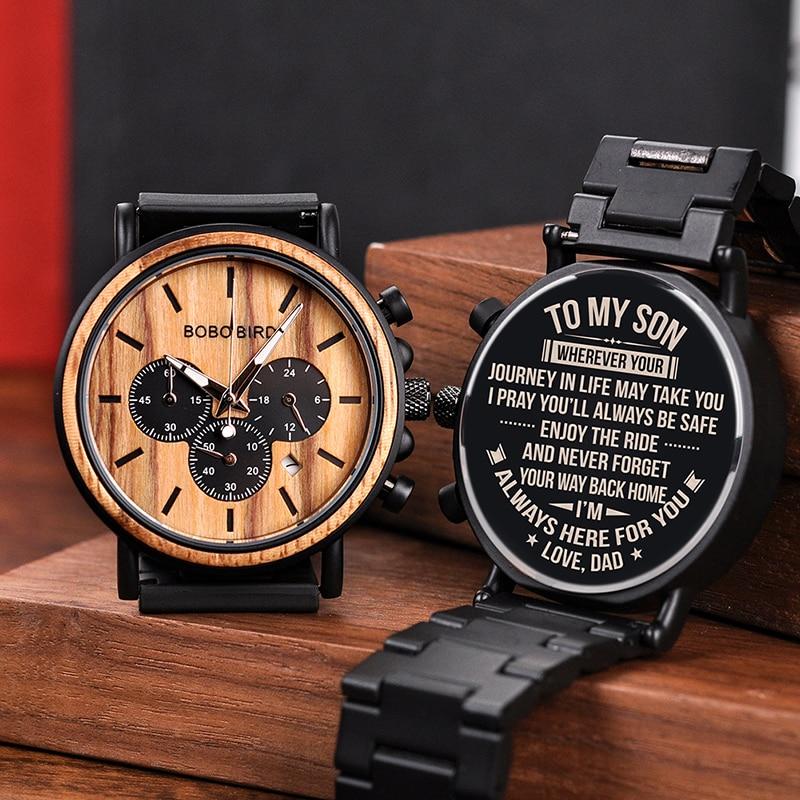 محفورة ساعة خشب للرجال شخصية الساعات الخشبية الذكرى الزفاف هدية له هدية لأبي ابن خطيبة