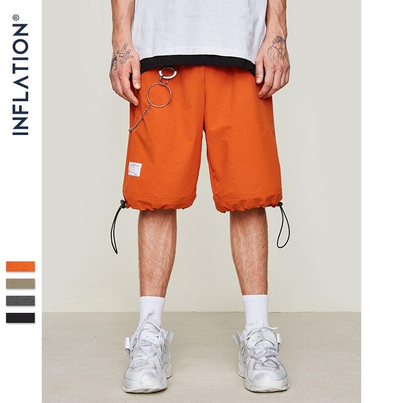 INFLATION Elastic Drawstring Shorts Men Summer Loose Style Straight Skateboard Shorts Mens Street Wear Hip Hop Shorts 9317S