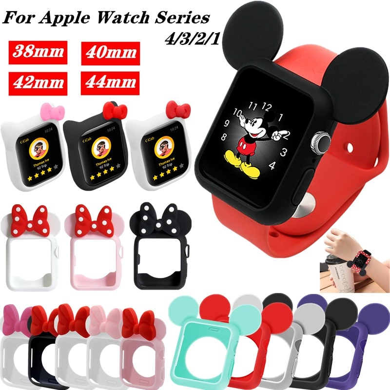 Soft Silicone Replacement Cove bumper For Apple Watch 4 44/40mm Cute Minnie Protective Case for iWat