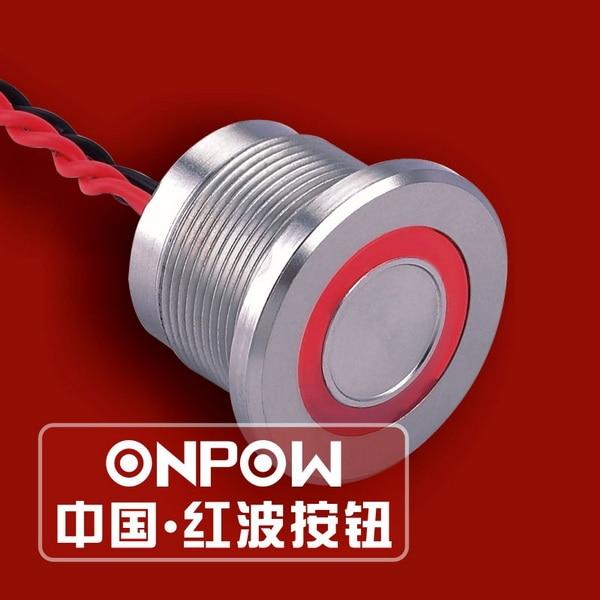 ONPOW 22mm IP68 Thin ring illuminated Momentary Pulse Aluminium Alloy/Stainless steel Piezo switch (PS223P10YT) CE,RoHS