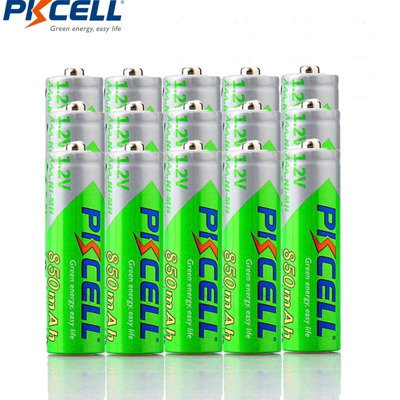 Batería PKCELL de 15 piezas AAA Ni-MH 850mAh 1,2 V AAA, batería recargable de 1,2 voltios, 3 a, baterías de Bateria de baja descarga