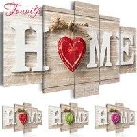 TOUOILP plein carre rond perceuse bricolage 5 pieces diamant peinture  maison douce maison  broderie point de croix 5D decor a la maison cadeau