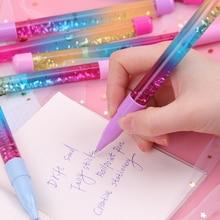 Cute 0.7mm Stick Ballpoint Pen Drift Sand Glitter Pens Glass Rainbow Color Creative Ball Pen Novelty Gift Stationery