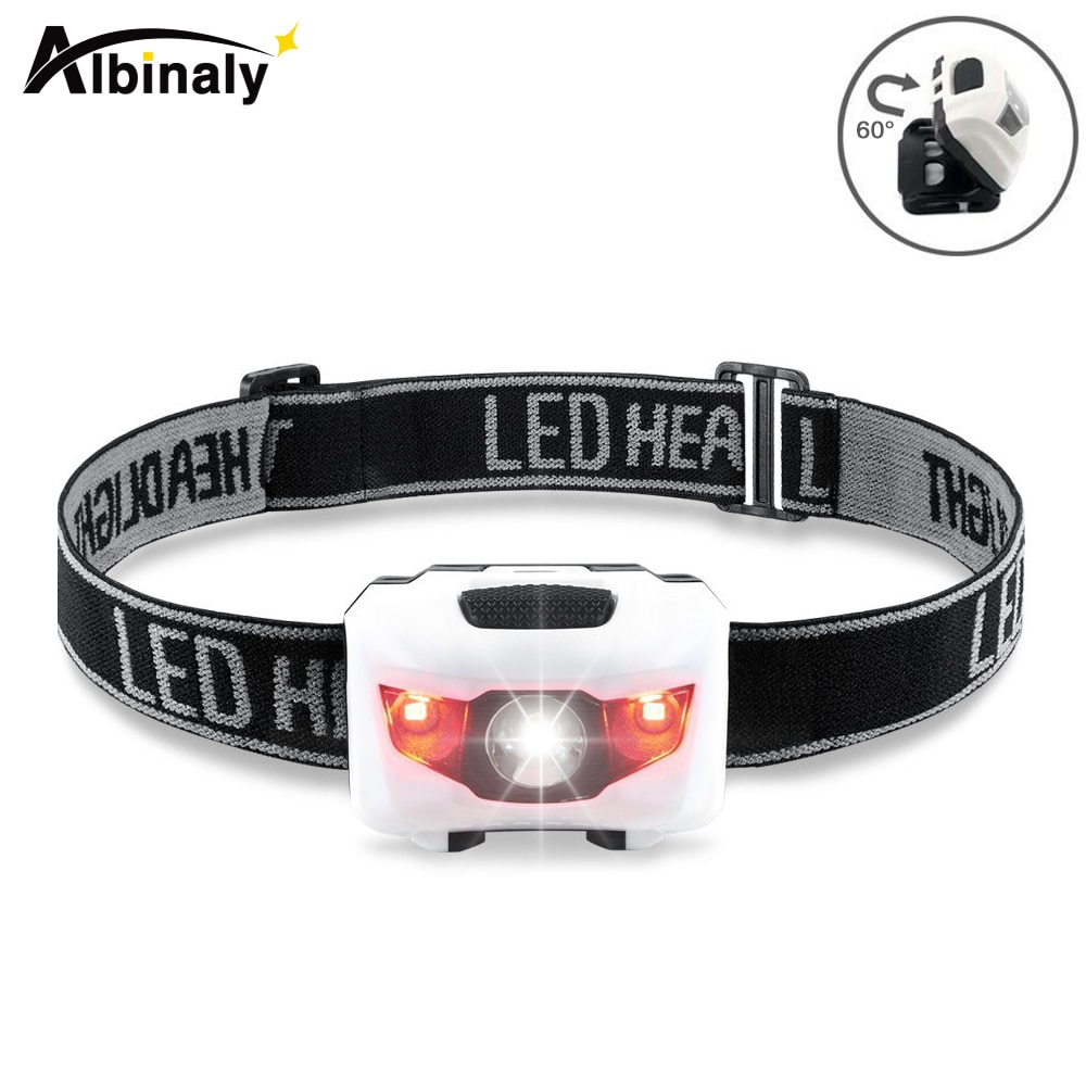Albinaly мини налобный фонарь 4 режима Водонепроницаемый R3 + 2 светодиодных супер ярких налобный фонарь с повязкой на голову использовать аккуму...