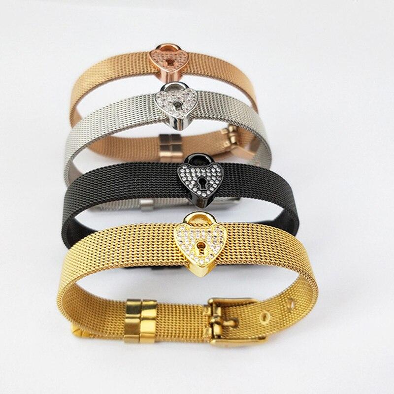 5 uds pulsera de correa de reloj de joyería de moda, Micro pavimento CZ forma de bloqueo espaciadores encanto brazalete ajustable para regalos de navidad BG258