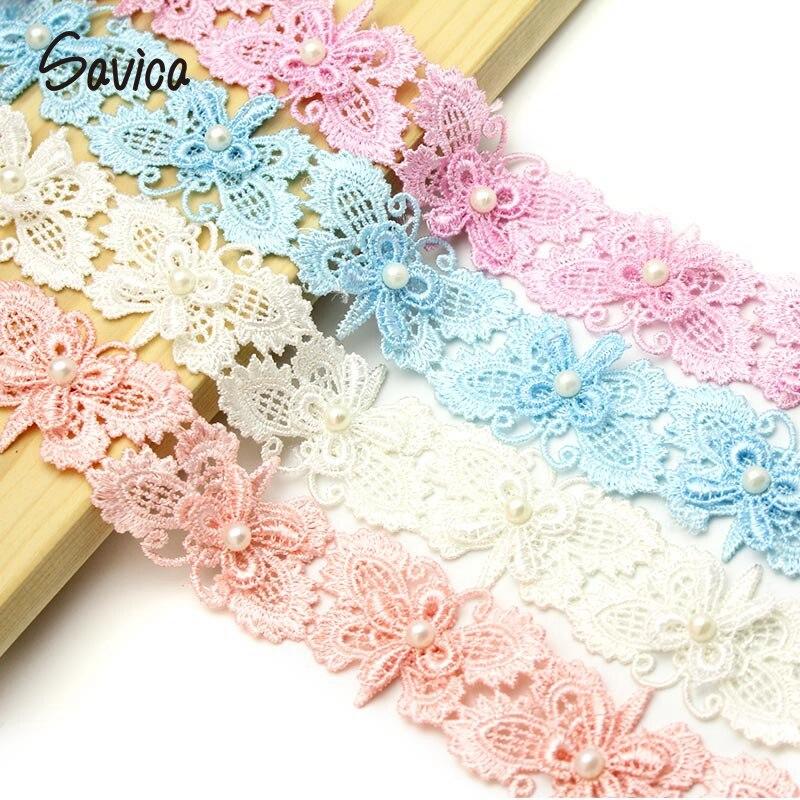 Savica 1y/lote 30mm bordado mariposa encaje de perlas vestido muñecas encaje tela apliques DIY decoración de costura suministro para manualidades LX111