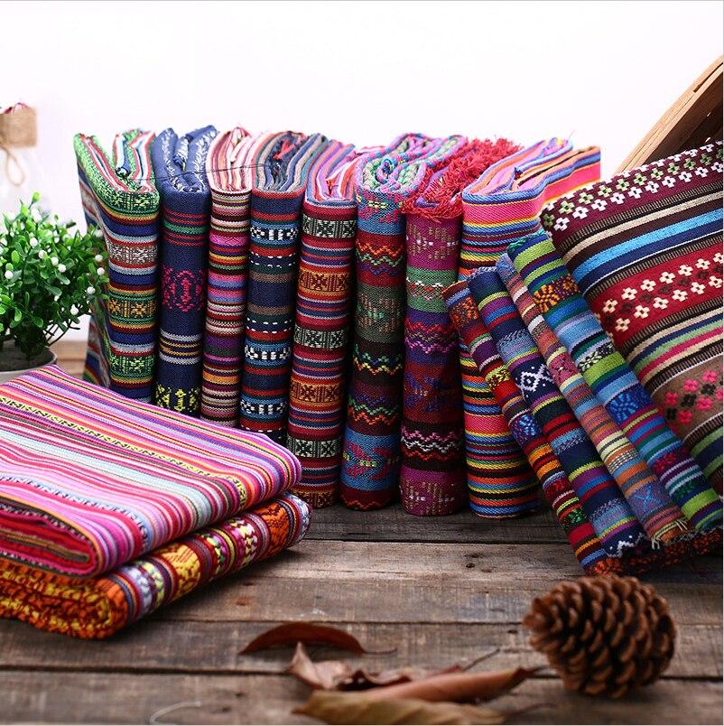 Tela funda de sofá DIY bolsa étnica cortina algodón Lino telas textiles para Patchwork sofás materiales tela Tissu D20