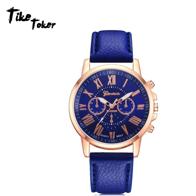 Women's Watches Fashion Tike Toker Brand Roman Numerals Faux Leather Analog Quartz Wrist Watch Women Female