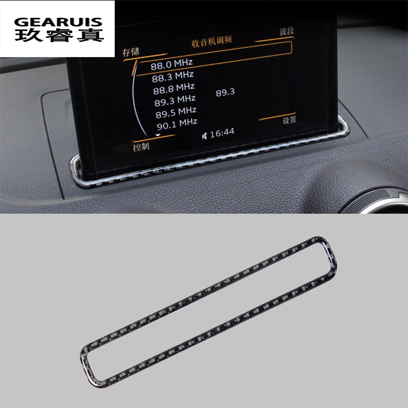 For AUDI A3 8V 13-17 Car Trim Styling Navigation Decorative Frame Strip Covers Stickers carbon fiber auto Interior Accessories