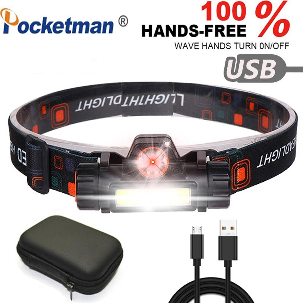 Мощный светодиодный налобный фонарь перезаряжаемая фара, XPE + COB USB кабель, водонепроницаемый Головной фонарь для бега, бега, пешего туризма ...